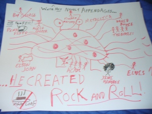 Martin found this on his lawn. Shameful. Who the heck would admit to creating Rock Music...besides Satan?