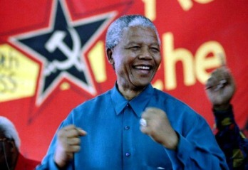 Mandela showing his true colors at a communist gathering.