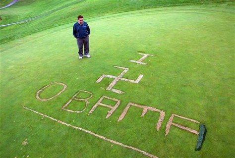 Obama followers show Obama's true colors by vandalizing this person's golf course.