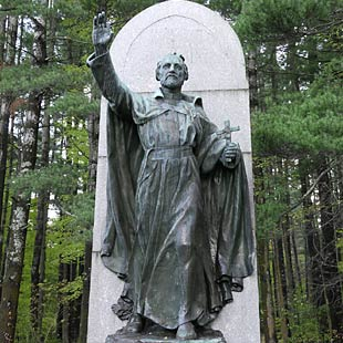 A statue of Jogues doing the Nazi salute as a sign of the Jesuit Order's goal of world domination.