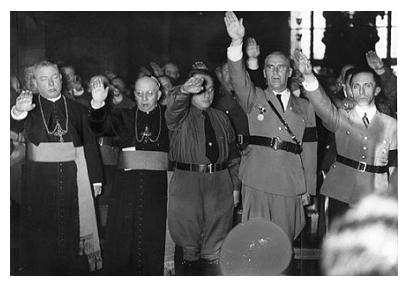 Nazi priests joining with the Nazi party. These priests hoped to further the Jesuit goal of world domination.